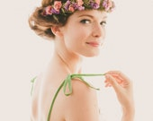 Bridal floral crown, Boho flower wreath, Woodland crown, Dried floral hair band, Pink purple green head piece