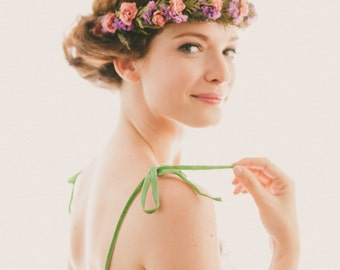 Dried flower crown, Pink and purple, bridal headpiece, Boho flower wreath, Woodland crown, floral hair band, Pink purple green head piece