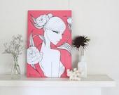 "Pinup girl - Wall Decor, art print by Brenda Dunn - Black and White art, Pink, pinup art, home decor, bedroom decor, ""Kate"""
