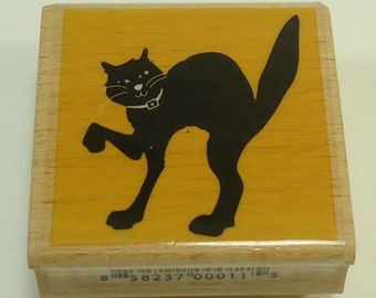 Black Cat Halloween Wood Mounted Rubber Stamp By Studio G