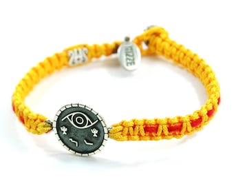 Unisex Silver Evil Eye Protection Amulet on Macrame Bracelet with Original Kabbalah Red String Inside