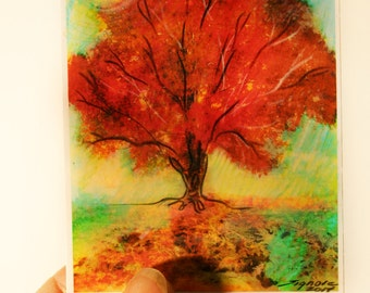On Sale,Art, Aceo, Autumn sunset, aceo original, Fall tree, red decor, Signore, miniature art, gift under 20