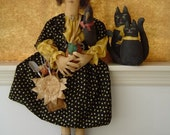 Primitive Doll with Sunflower crow cat doll pattern HAFAIR FAAP