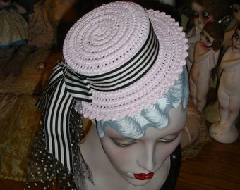 Pink Mini Straw Boater Hat Gatsby Style Pinstripe Band Polka Dot Tulle