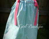 Girls Pillowcase Dress Turquoise with White Polka Dots and Hot Pink Ribbon Ties Over Both Shoulders
