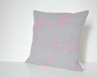 Neon pink design on grey linen pillow cover 18 x 18 inches