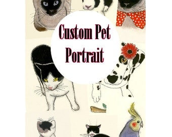 "Custom Pet Portrait - Custom Pet Art - Custom Pet Drawing 4"" X 6"""