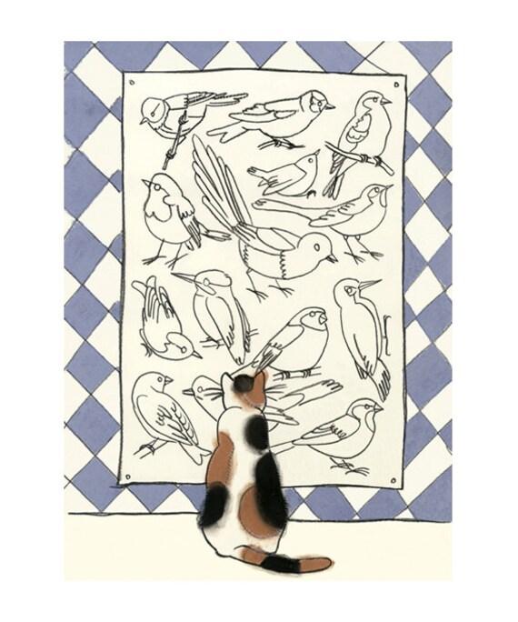 """Cat art -   Art Lover  8.3"""" X 11.8"""" print - 4 for 3 SALE"""