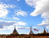 TeePees over Taos, New Mexico American Flag flying freedom Print - northern n Mex Landscape Photography Indians lifestyle Giclee Print 8x12