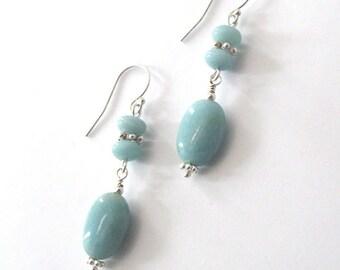 Amazonite Gemstone Oval Dangle Earrings, Sterling Silver, Aqua Blue