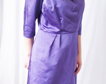 Vintage 1950s Dress - Purple Satin Elegant Party Dress - Size 10/12 Large