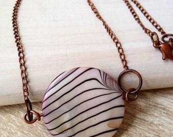 Zebra Shell Stripes Necklace Copper Black White Brown