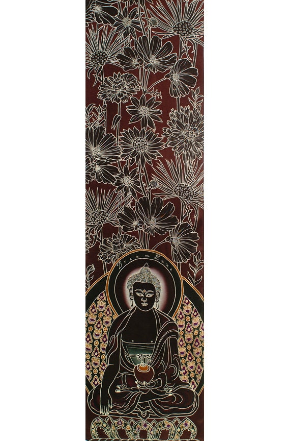 Mens Silk Scarf, Buddha scarf, Hand Painted scarf, Flowers scarf, Burgundy silk scarf, Paintings of buddha, Scarves for men, Men dress scarf