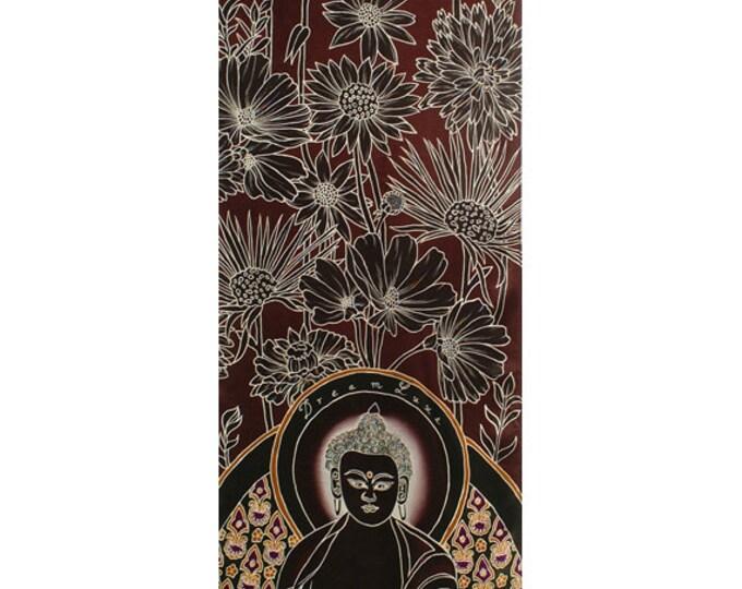 Mens Silk Scarf, Buddha scarf, Hand Painted scarf, Flowers scarf, Burgundy silk scarf, Paintings of buddha, Scarves for men, Men dress scarf