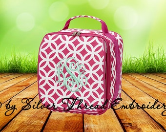 Personalized Lunch Bag Hot Pink Quatrefoil Geo Monogrammed School Snack Box