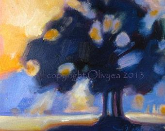 "Miniature Painting, Original, Oil, Landscape, Sunrise, Sunset, Trees, Impressionism... 6"" x 6"""