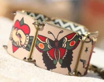 Tattoo Bracelet Sailor Jerry Bracelet Tattoo Jewelry Sparrow Jewelry Love Jewelry Shrink Plastic Sailor Jerry Tattoo Rocker Rum Cowgirl