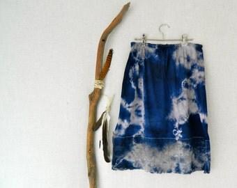 MUSE . women's tie dye skirt . size 16 . navy blue . up-cycled slip . gypsy galaxy hippy festival hippie shibori . australia . US size 12
