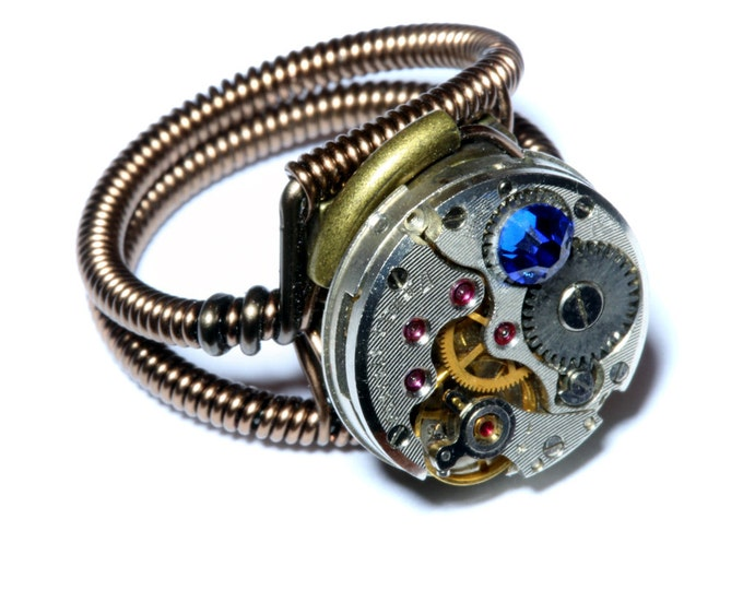 Steampunk ring, Steampunk Jewelry  - Watch Movement Steampunk Ring with Capri Blue Crystal