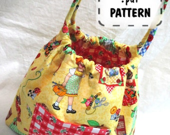 Bubble Bag PDF Purse Pattern-Two Sizes Hobo Shoulder Bag-EASY Sewing Instructions Tutorial