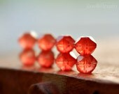 Loves Bittersweet - Czech Glass, Coral red Orange, Luster, English Cut Rounds 10mm - 6 Pc