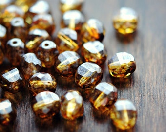 Tuscan Skies - Czech Glass Beads, Translucent Amber, Picasso, Two Way Facet Rounds 10mm - Pc 6