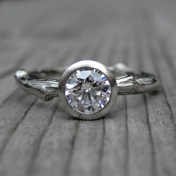 items similar to diamond twig engagement ring in recycled