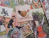 Vintage children illustration - book reclamation - collage ephemera - found papers - MOTHER GOOSE 30