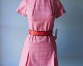 60's vintage dress // red plaid dress// patty dress