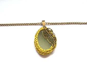Sea glass necklace mustard yellow Valentine's  gift for her crochet bronze leaf gift for her textile jewelry seaglass pendant beach Weddings