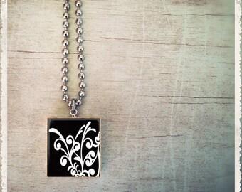 Scrabble Tile Art Pendant - Serendipity Black and White - Scrabble Jewelry Charm - Customize