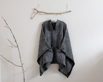 made to order wool linen blend swallow asian poncho