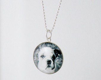 Custom Pet Photo Necklace - Sterling Silver Large Charm - Custom Love My Pet Jewelry wear Your Dog or Cat Picture under Glass
