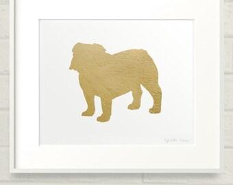 Gilded English Bulldog 8x10 Mod Dog Art Print - Metallic Gold Leaf Silhouette on White Background