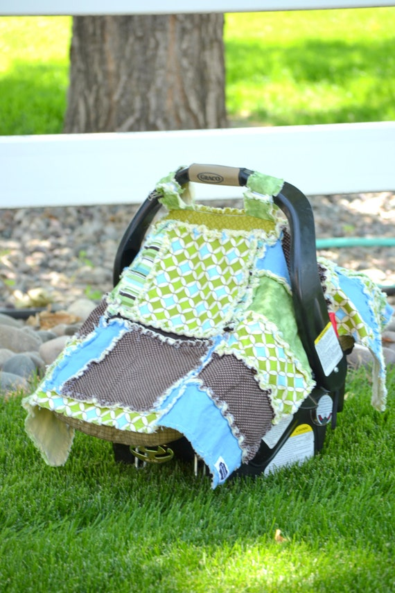 Lime Green and Blue Car Seat Tent for a baby boy