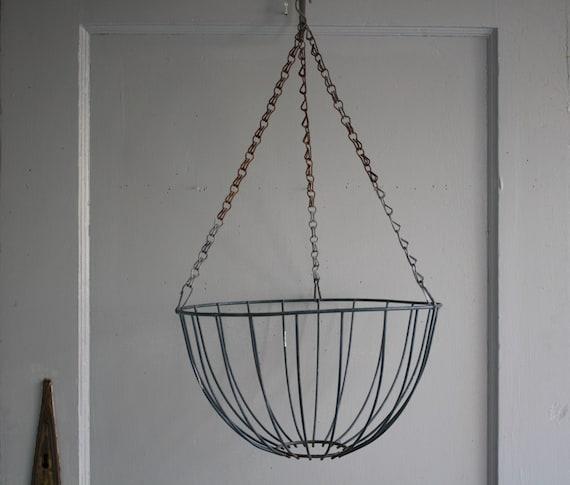 On Hold Vintage Metal Wire Hanging Planter Basket