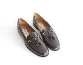 sz 9.5 N Vintage Etienne Aigner Leather Shoes | Classic Leather Flats | Brown Leather Penny Loafers | 41