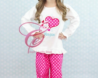 Swirly Hearts Valentine Applique T-Shirt by Elegant Embroidery Designs