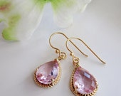 Pink and Gold Earrings, Blush Pink, Glass Drops, Bridesmaid Earrings, Bridal Earrings, Wedding Jewelry