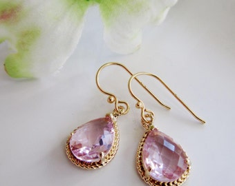 Blush Pink Teardrop Earrings, Gold Edged Earrings, Glass Drops, Bridesmaid Earrings, Dainty Earrings, Wedding Jewelry, Gardendiva