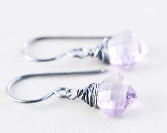 Amethyst Drop Earrings, Purple Dangle Earrings, February Birthstone