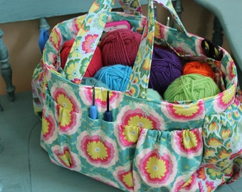 Watermelon Wishes Knitting Crochet Organizer Bag Caddy Tote