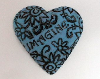 Imagine  Heart Sculpture - Ceramic  Affirmation Heart wall hanging Art