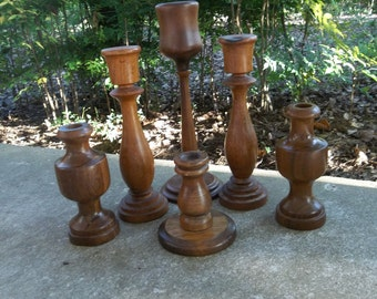 6 Vintage Candle Holders Wooden Candlesticks MisMatched Rustic Wedding Decorations Table Decor French Country Farmhouse Wood Candleholders