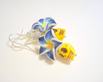Tiny Yellow and Blue Day of the Dead Sugar Skull and Flower Earrings