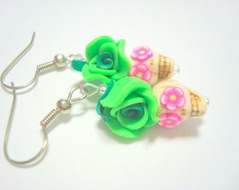 Tiny Green and Pink Day of the Dead Sugar Skull and Rose Earrings