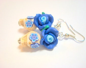 Bright Blue and Ivory Day of the Dead Roses and Sugar Skull Earrings Small