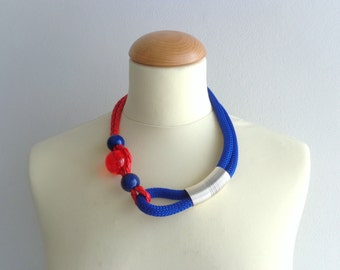 Blue red statement necklace