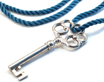 Seriously large key necklace, ornate silver skeleton key on ocean blue cord
