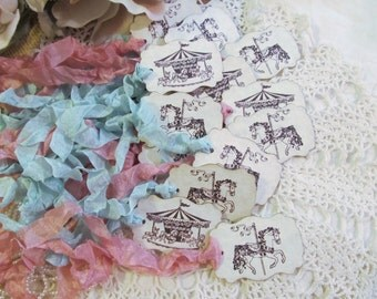 Carousel Horse Tags or Carousel Parchment Favor w/ribbons - Baby Shower Birthday Circus Carnival - Set of 18 - Choose Ink & Ribbon Color